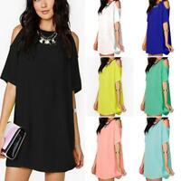 Fashion Women Summer Dresses Loose Solid Off-Shoulder Casual Sundress Mini Dress