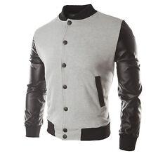 Men Jacket Fashion Long Sleeve Button Front Cotton Bomber Baseball Jacket
