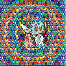 Rick and Morty Tripping BLOTTER ART sheet page tabs Acid Free Art psychedelic