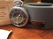 1943 Elgin Gct 22j Wwii Bw Raymond Pocket Watch Air Mans 24 Hr Original Box Mint