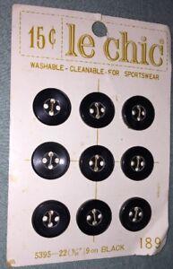 "Vintage Le Chic Style #189 - (9) 9/16"" Black Buttons"