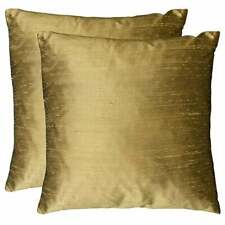 Duponi Silk Feather Filled Square Decorative Pillows (Set of Gold 18 x 18