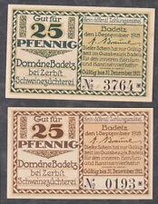 Badetz -Domäne- 2 Scheine zu je 25 Pf. (L 57)