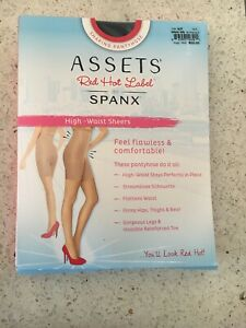 SIZE 6F NEW SPANX Assets Red Hot Label High-Waist Sheer Shaping Pantyhose BLACK
