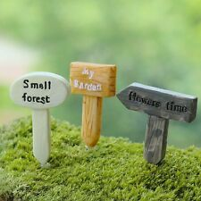 3 pcs Miniature Fairy Garden Road Sign Terrarium Planter Accessories -USA SELLER