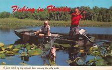 FISHING IN FLORIDA~FRESH WATER FOR BIG MOUTH-LARGE MOUTH BASS POSTCARD 1960s