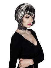 Perücke Halloween Vampir Lady weißschwarz kurz Vampirin