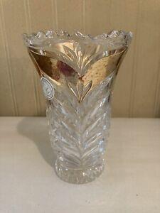 vintage crystal clear 24 percent lead crystal vase germany