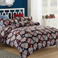 Skull Floral Duvet Cover Quilt Cover Bedding Set Twin/Queen/King Size Soft US