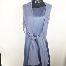 Alex Evenings Size 20 Dress Long Blue Sleeveless with Shawl