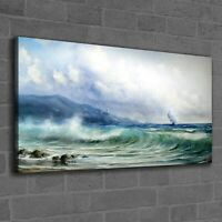 Canvas Print Photo Picture Stormy Sea Framed Seascape Ship Lighthouse  120x60