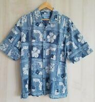 Bermuda Bay Men's Large Silk Tropical Hawaiian Blue Shirt