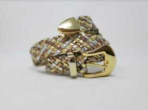 Vintage women's metallic leather braided woven belt / gold / rose gold / silver