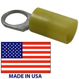 "(100) Molex Yellow Vinyl Insulated 4 AWG Gauge 1/2"" Ring Terminal Connector USA"