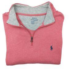 Polo Ralph Lauren Men's Large Pink Pullover 1/4 Zip Sweater