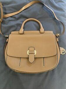 MICHAEL KORS Tan Leather Crossbody Bag Gold Tone Hardware
