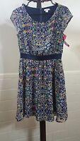 XHILARATION Women's Size M Knit Sleeveless Sundress Colorful Floral Dress