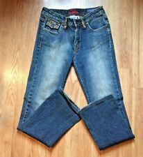 Leo Roma Italy Skinny Jeans distressed bling pockets & belt loops size 1 ladies
