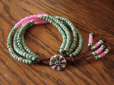 Turquoise Picasso Pink Silver 4 Strand Handmade Beaded Leather Wrap Bracelet
