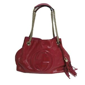 Authentic GUCCI SPHO Chain Bag Red Leather (721010)