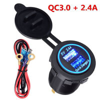 Waterproof Quick Charger Socket 3.0 & 2.4A Dual USB Port for Car Boat Marine Rv