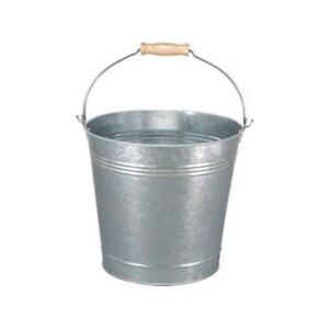12L TRADITIONAL GALVANISED STRONG STEEL METAL BUCKET WITH WOODEN HANDLE