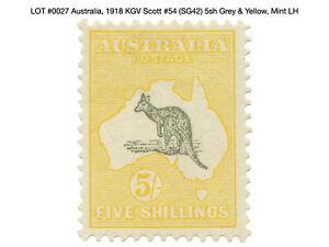 0027: Australia, 1918 KGV Scott #54 (SG42) 5sh Grey & Yellow, Mint LH - Kangaroo