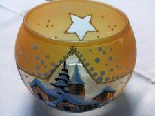 Windlicht Glas mit Wintermotiv für Teelichter handbemalt 1 Stck Nr.230541 T