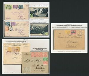 1905-1908 PARAGUAY COVERS / CARDS x5 LION, EXCELLENT INTERNATIONAL MARKINGS