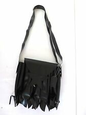 "Demonia Black Rubber Purse Handbag Punk Rock Style 12"" x 11"" x 1.5"" Star Front"