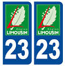 23 CREUSE LIMOUSIN DEPARTEMENT IMMATRICULATION 2 X AUTOCOLLANTS STICKER AUTO.