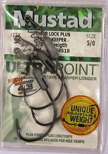 6 (2 packs) Mustad 91768S18 Power Lock Plus Ultrapoint Fish Fishing Hooks 5/0