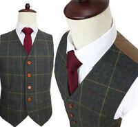 Green Blend Herringbone Tweed Men Formal Business Waistcoat Slim Fit Casual Vest