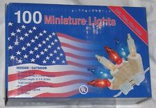 Red White Blue Lights White String 100 Bulbs 22 ft Long NIB Indoor Outdoor Flag