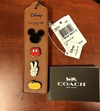 Disney X COACH 2017 MIckey Body Enamel Pin Set Leather Charm Bookmark F59310 NWT