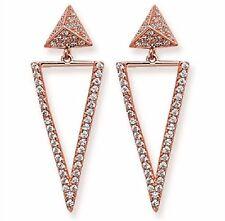 Sterling Silver CZ Fancy Rose Gold Plated Drop Earrings, SE351A
