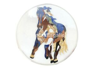 "20"" White Marble Coffee Table Top Semi Precious Horse Inlay Cafeteria Decor W010"