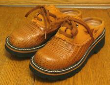 ARIAT embossed rust orange leather & suede die-cut MULES / CLOGS sz 6 B