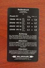 BMW Alpina E12 E21 E24 Tire pressure wheel sticker decal Reifendruck aufkleber