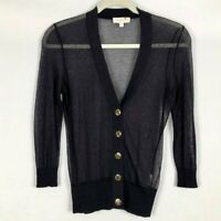Tory Burch Sheer Simone Navy Cardigan Sweater Gold Buttons Size XS