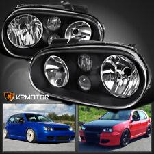 For 99-06 VW Golf GTI MK4 Black Headlights Pair w/Built-in Projector Fog Lamps