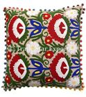 Indian Suzani Embroidered Cushion Cover Uzbek Pillow Case 16X16 Decorative Cover