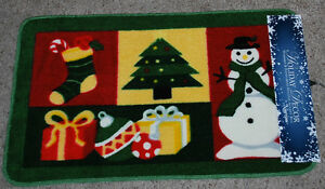 Christmas Holiday Accent Rug 18x30 Snowman Tree Stocking Gifts Ornament Design