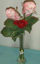 "NEW-$40/2-PINK ROSE & 1-RED ROSE/16"" LONG STEMMED FLOWER ARRANGEMENT IN BUD VASE"