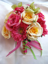 Wedding Bouquet 17 piece set Bridal ouquets Silk flowers PINK YELLOW GREEN DAISY
