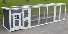 9.6' Chicken Wood Coop w/ Plastic Insert Cage Poultry Hen House Run 2-4 Chickens