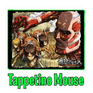 Attack on Titan Attacco dei Giganti Levi Eren Tappetino Mouse Pad Pc Anime Manga