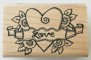 """Stamp Oasis Rubber Stamp Love Banner 1334-G 2000 2.75 x 1.75"""" Graphic Design"""