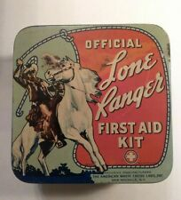 Official Lone Ranger First Aid Kit,  Hinged Tin, Rare W/ Original Contents! 1938