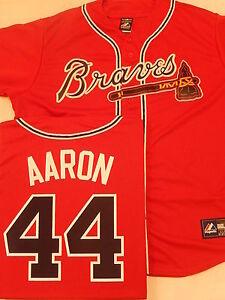 1122 MAJESTIC Atlanta Braves HANK AARON Sewn Baseball JERSEY New RED XL
